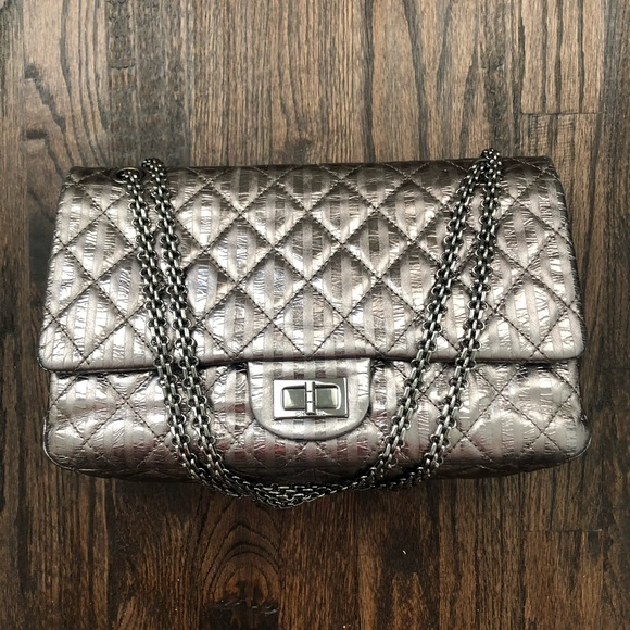 CHANEL Handbags - Authentic Chanel Metallic 2.55 Striped Reissue 227